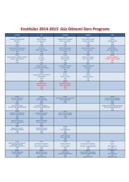 Enstitüler 2014-2015 Güz Dönemi Ders Programı