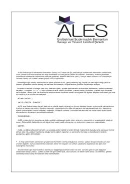 ALES Endüstriyel Sızdırmazlık Elemanları Sanayi ve