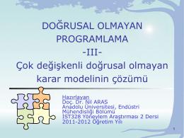 ve (5) - Endüstri Mühendisliği Bölümü | Anadolu Üniversitesi