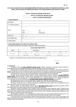 Ek- 10 5510 SAYILI KANUNUN 60 INCI MADDES N N B R NC