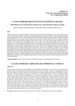 G-Taksi: Hidrojen Destekli Güneş Enerjili Ticari Araç