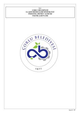 Teknik Şartname - Çorlu Belediyesi