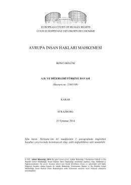 22 Temmuz 2014 tarihli A.D. ve diğerleri v. Türkiye Kararı