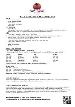 HOTEL BİLGİLENDİRME - Konsept 2015