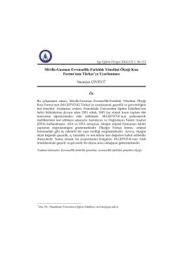 Miville-Guzman Evrensellik-Farklılık Yönelimi Ölçeği