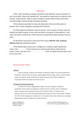 HTML Nedir - Gülcay KORKMAZ