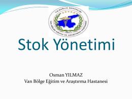 Stok Yönetimi Eğitimi - Van Bölge Eğitim ve Araştırma Hastanesi