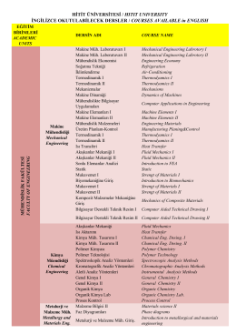 Courses Available in English - Hitit Üniversitesi Uluslararası İlişkiler