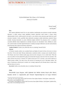 Zeybek Kültüründe Yüze Çıkma ve Kır Serdarlığı