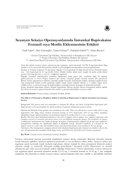 Sezaryen Seksiyo Operasyonlarında İntratekal Bupivakaine Fentanil
