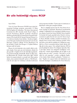 PDF İndir - Türkiye Aile Hekimliği Dergisi