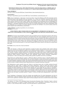 Dumlupınar Üniversitesi Sosyal Bilimler Dergisi