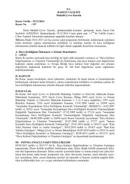 2014 Yılı Mahalli Çevre Kurulu Kararları