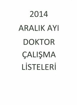 ARALIK AYı DOKTOR ÇALIŞMA - Çanakkale Devlet Hastanesi