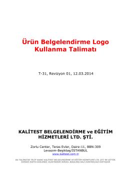Ürün belgelendirme Logo kullanma talimatı