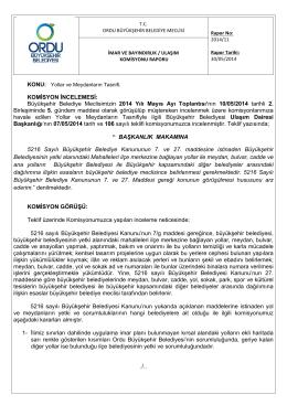 11. komisyon raporu - Ordu Büyükşehir Belediyesi