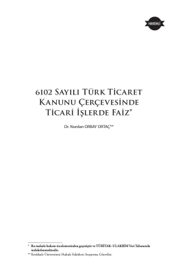 6102 Sayılı Türk Ticaret Kanunu Çerçevesinde