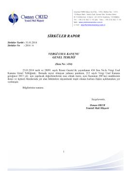 6 Vergi Usul Kanunu Genel Tebliği Sıra No:434