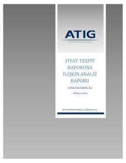 Lider Faktoring A.Ş. Fiyat Tespit Raporuna İlişkin Analiz Raporu