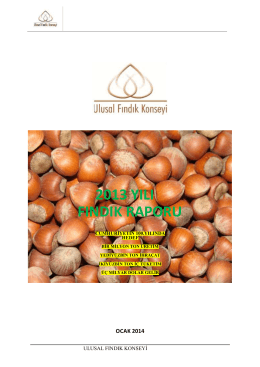 2013 yılı fındık raporu - Sakarya Ticaret Borsası