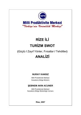Turizm SWOT Analizi - Rize Ticaret ve Sanayi Odası