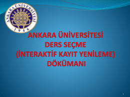 Ders Seçme İşlemleri - Ankara Üniversitesi