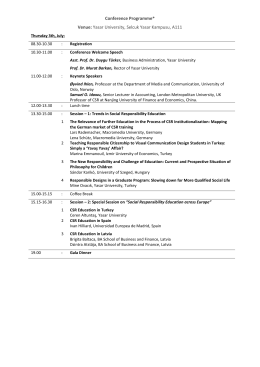 Programme - International Conference on Social Responsibility