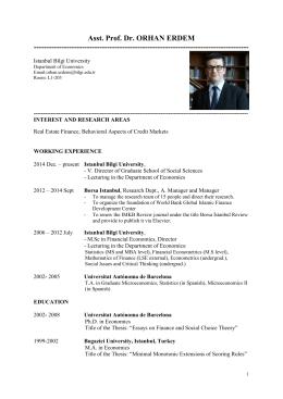 Asst. Prof. Dr. ORHAN ERDEM - İstanbul Bilgi Üniversitesi