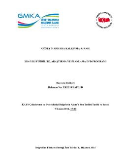 DFD Başvuru Rehberi - Güney Marmara Kalkınma Ajansı