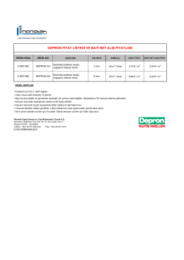 DEPRON FİYAT LİSTESİ - Nanotek İnşaat A.Ş.