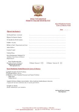 Kayıt Dondurma Başvuru Formu - ipek üniversitesi öğrenci işleri