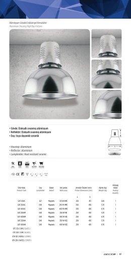 • Gövde: Eloksallı sıvanmış alüminyum • Reflektör