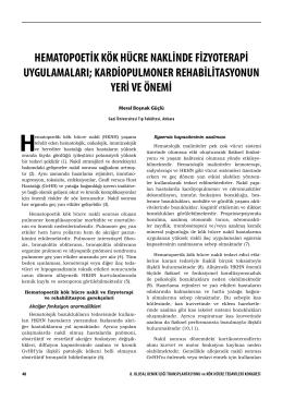 hematopoetik kök hücre naklinde fizyoterapi uygulamaları