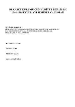 eylül 2014 mesleki calisma programi rapor