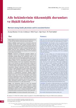 PDF - Aile hekimlerinin tükenmişlik durumları ve ilişkili faktörler