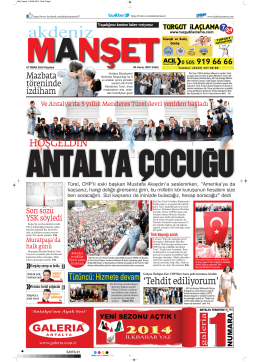 HOŞGELDİN - Akdeniz Manşet