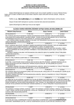 18 kasım 2014 ihale listesi - Makina ve Kimya Endüstrisi Kurumu