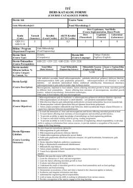 GID 311 - İTÜ Gıda Mühendisliği Bölümü
