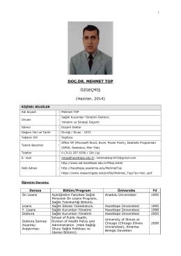 Özgeçmiş - Hacettepe Üniversitesi Sağlık İdaresi Bölümü