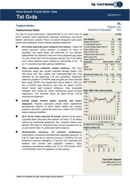 26/09/2014 - İş Yatırım