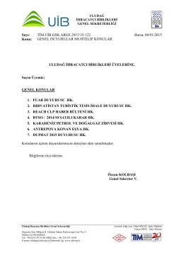 genel duyurular muhtelif konular. 08.01.2015