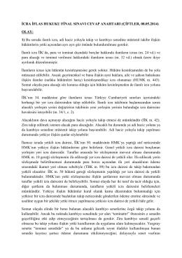 İCRA İFLAS HUKUKU FİNAL SINAVI CEVAP ANAHTARI (ÇİFTLER