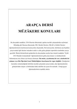 ARAPÇA DERSİ MÜZÂKERE KONULARI