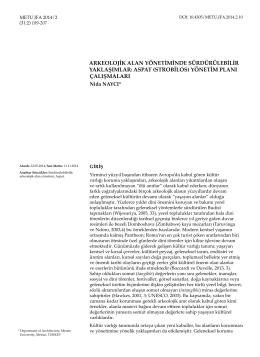arkeolojik alan yönetiminde sürdürülebilir yaklaşımlar