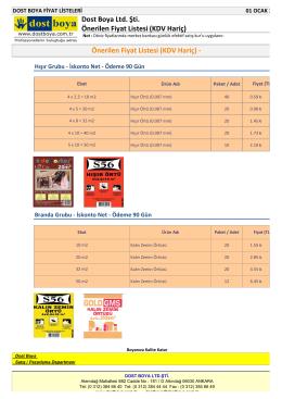 Önerilen Fiyat Listesi (KDV Hariç) - Dost Boya Ltd. Şti. Önerilen Fiyat