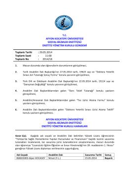 29.05.2014 Tarih ve 2014-18 Sayılı Karar