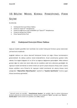 10. bölüm: model kurma: fonksiyonel form seçimi