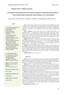 4(2): 54-58 Altay ve ark. 54 Original Article / Orijinal Araştırma