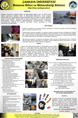 Bölüm Afişi - Çankaya Üniversitesi Malzeme Bilimi ve Mühendisliği