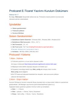 Proticaret E-Ticaret Yazılımı Kurulum Dokümanı